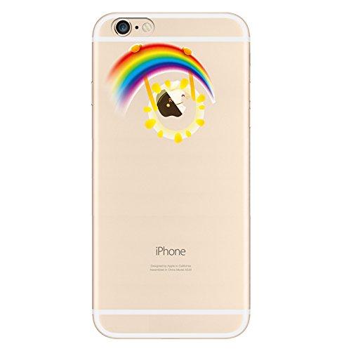 IPHONE 6s Hülle Traumfänger Ballon Karikatur Panda TPU Silikon Schutzhülle Handyhülle Case - Klar Transparent Durchsichtig Clear Case für iPhone 6/6s Regenbogen Sun