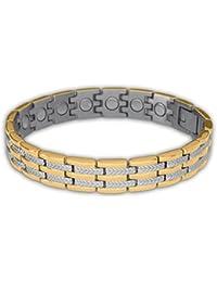 Sabona of London Regal Duett Energie- und Magnetarmband für Damen aus allergenfreiem 316L Edelstahl mit einer 18 Karat Goldauflage, Samarium-Cobalt Magneten à 1200 Gauß, Größen: S/M/L/XL, Premium Qualität seit 1960