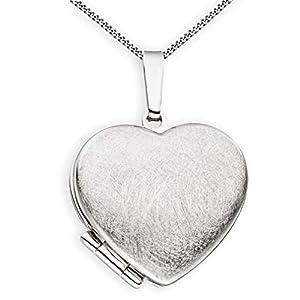 Medaillon Herz eismattiert mattiert verziert 925 Sterling Silber zum öffnen für Bildereinlage 2 Fotos Amulett von Haus der Herzen® mit Schmuck-Etui