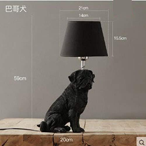 ATHQ Art-Deco-Harz Lampen Schlafzimmer Wohnzimmer Kinder Nachttischlampe Hund Schatten-Stil Led Tischleuchte, D