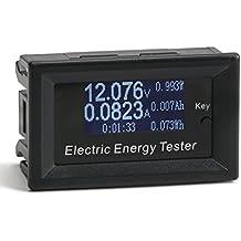 DROK® DC 100V / 15A Multímetro de pantalla digital, LCD de alta definición Voltímetro Amperímetro Capacidad Medidor de energía Medidores de electricidad Termómetro Temporizador Probador, Voltaje Temperatura actual Monitor de tiempo Conexión DIY