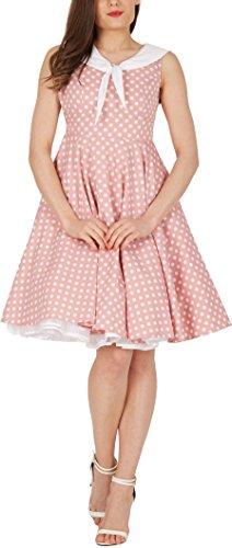 'Clio' 50's Polka-Dots Kleid mit besetztem Ausschnitt - 4