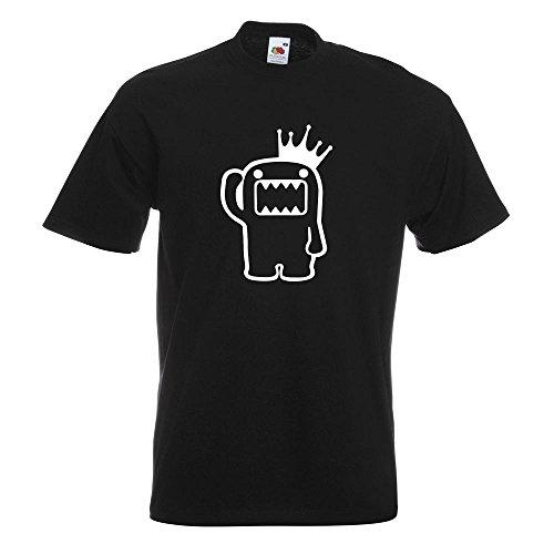KIWISTAR - Domo Kun mit Krone T-Shirt in 15 verschiedenen Farben - Herren Funshirt bedruckt Design Sprüche Spruch Motive Oberteil Baumwolle Print Größe S M L XL XXL Schwarz