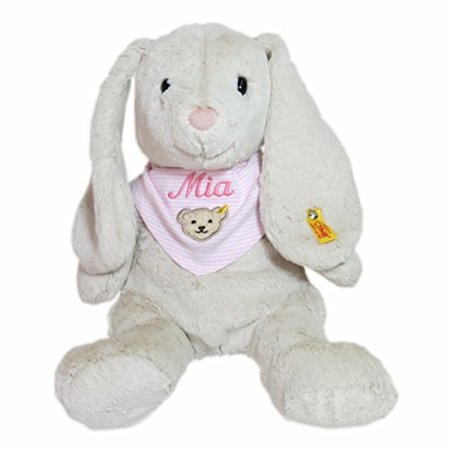 Steiff Hoppie Hase mit Wunschnamen auf Steiff Collection Halstuch Gr. II rosa bestickt 38 cm 080487 + 6600 Soft Cuddly Friends