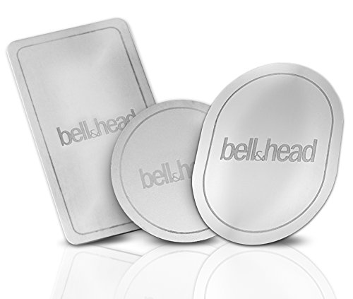 bell & head 3er Set Metallplättchen OVAL, RUND, LANG mit Klebefläche für KFZ Magnet-Handy-Halterung - Zusatz-Set oder Ersatz für Original Platten Anbietern