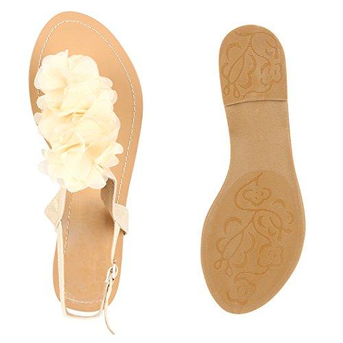 Damen Zehentrenner Blumen Sandalen Glitzer Sommer Schuhe Creme