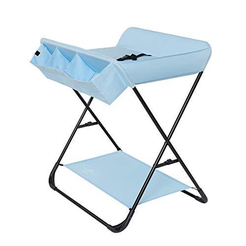 Tables à langer Table à langer avec rangement, pliage Toddler Infant Portable Station de couche-culotte commode style croisé jambe, bleu
