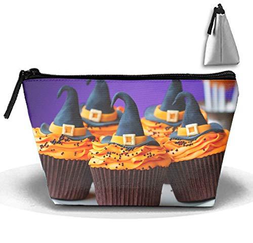 Creme Halloween Hüte Essen Kuchen Dekorationen Kulturbeutel, Reise-Make-up-Beutel-verschiedene Tasche, Kosmetik