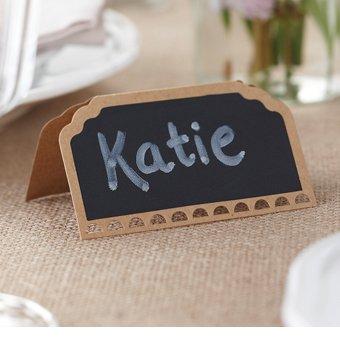 """Blanko Namenskärtchen / Platzkärtchen """"Tafel"""" im rustikalen Stil - Inhalt pro Packung 10 Stück- zum individuellen Beschriften für Ihre Tisch- & Sitzordnung"""