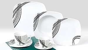 Service de Table des 42 pièces en Porcelaine Service de Café TK-953 Black Gala NEUF