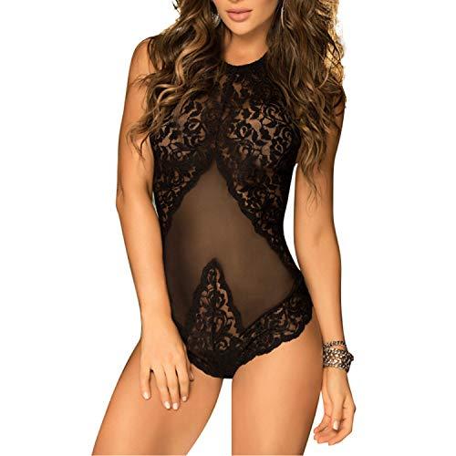 EVBEA Lencería Mujer Erótica Halter Ropa Interior Teddy Body Transparente Atractivo Camisón Babydoll Dormir Camisones Encaje con Cordón Pijamas Femenina Tentación