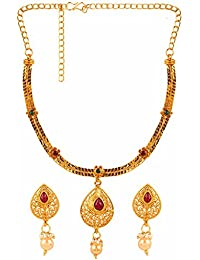Parinaaz Traditional Gold Plated Red And Green Ethnic Necklace Jewellery Set With Drop Earrings For Girls