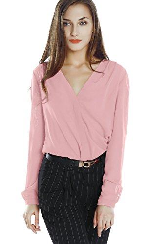 Urban goco donne camicette manica lunga pieghe chiffon con scollo v colore puro camicia blusa (l, rosa)