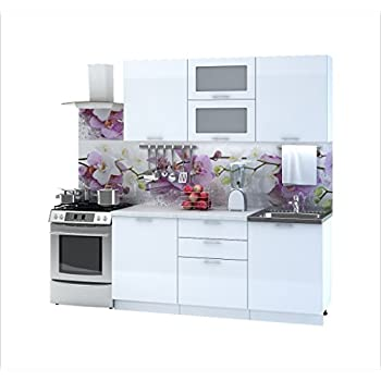 Küche valeria 180 cm küchenzeile einbauküche küchenblock weiß hochglanz erweiterbar module frei kombinierbar