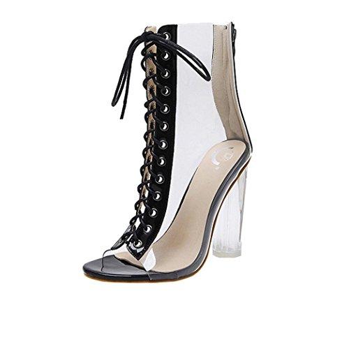 Zapatos de tacón Altas Ancho Clásicos para Mujer Verano 2018 PAOLIAN Casual  Transparente Zapatos de Boca a9af5212f1b4