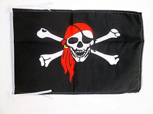 AZ FLAG Bandera Pirata con Bandana Rojo 45x30cm - BANDERINA con...