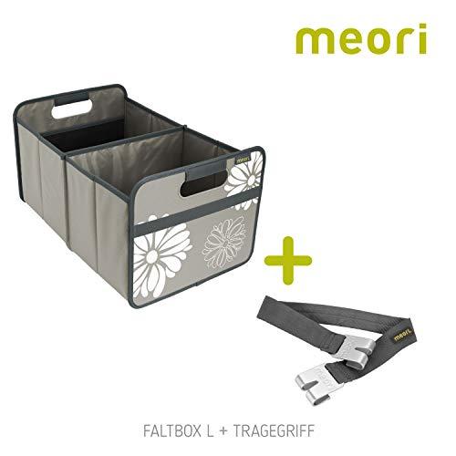 Faltbox Classic Large Stein Grau / Blumen + Tragegriff 32x50x27,5cm stabil abwischbar Wäschesammler Ferien Bücherkiste Bundle