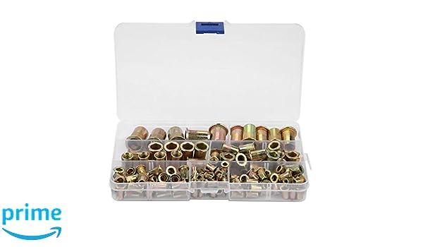 93 st/ücke Gewindeeinsatz Sortiment Kit M3 M4 M5 M6 M8 M10 304 Edelstahl Blindnietmuttern Set