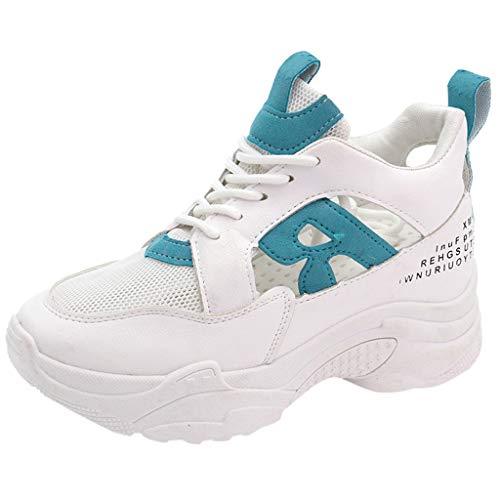 Ears Damen Sommer Mesh Schuhe Dickbesohlte Schuhe Atmungsaktive Hohl Schuhe Freizeitschuhe Atmungsaktiv Turnschuhe Schnürer Sportschuhe Sneaker Fitness Atmungsaktiv Sneakers Laufschuhe -