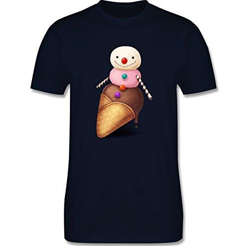 Statement Shirts - Eiscreme Schneemann - Herren Premium T-Shirt Navy Blau