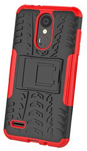 Xinfengdi LG K8 2018 Dual Layer Armor Combo a Prueba de Golpes Heavy Duty Shield Funda rígida Compatible LG K8 2018-Rojo