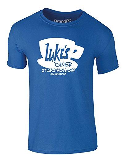 Brand88 - Luke's Diner, Erwachsene Gedrucktes T-Shirt Königsblau/Weiß