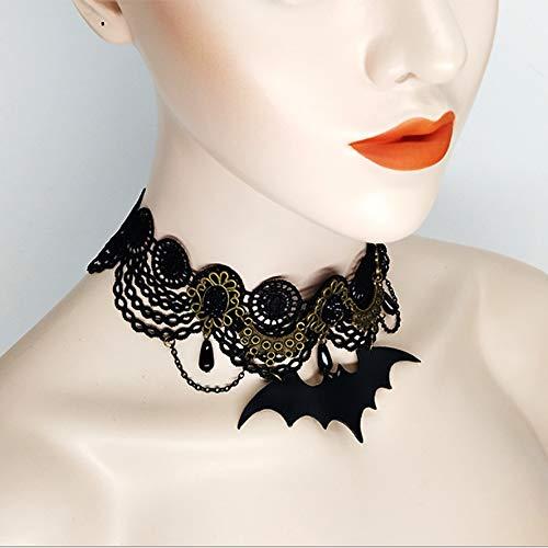1 x Halloween Choker Halskette Fledermaus Vintage Schlüsselbein mit Spitze Halskette