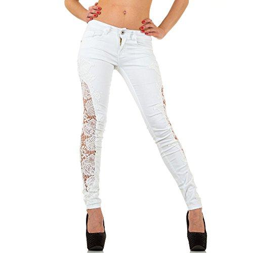 Damen Jeans, SPITZEN SKINNY JEANS, KL-J-390-1 Weiß