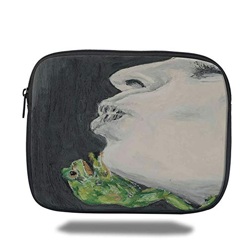 Tablet Bag for Ipad air 2/3/4/mini 9.7 inch,Country Decor,Mod Drawing of a Lady Kissing The Frog Prince Soul Mates Love Boho Animal Art,Grey Green Black,Bag -