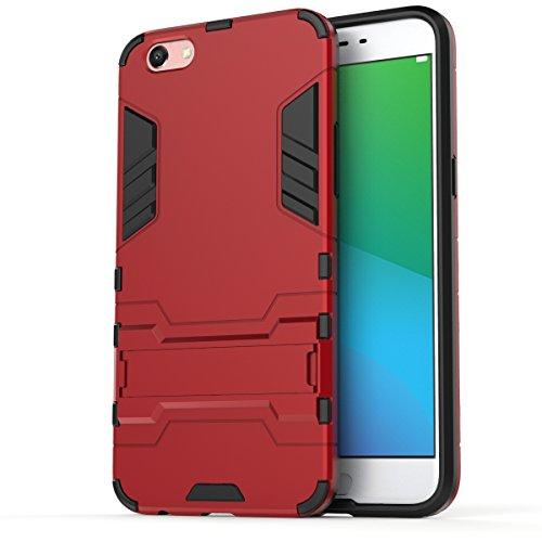 Oppo R9s Hülle,EVERGREENBUYING Abnehmbare Hybrid Schein R9S Tasche Ultra-dünne Schutzhülle Case Cover mit Ständer Etui für OPPO R9s Schwarz Rot