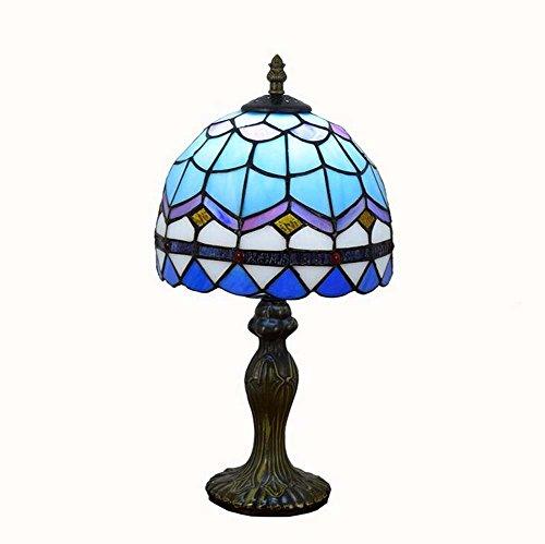 Lampada da tavolo europea in stile Tiffany semplice da 8 pollici, lampade da tavolo in vetro colorato mediterraneo blu, lega di alluminio da creatività, soggiorno, camera da letto, lampada da comodino, E27 (lampadine non incluse)