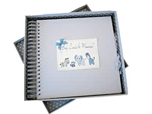 White Cotton Cards New Baby, Card & Memory Book, Blue Toys