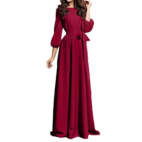 Damen Kleider,Daongff Elegant Maxikleid Vintage 1950erBoho Lang Maxi Kleid Abendkleider Ballkleid Solid Casual Partykleid mit Taschen ()