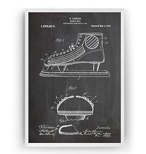 Eishockey Schlittschuhe Patent Poster - Eishockey Eislaufen Jahrgang Drucke Drucken Bild Kunst Geschenke Zum Männer Frau Entwurf Dekor Art Blueprint Decor - Rahmen Nicht Enthalten -