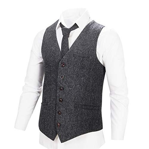 VOBOOM® Herren Weste aus Tweed mit Fischgrätenmuster in Kaffee, Armeegrün, Marineblau und Dunkelgrau, Khaki Gr. XXX-Large, Flecked Grey -