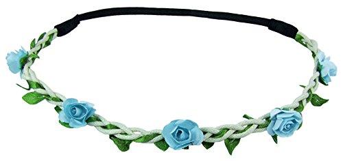 Blumen Haarband Bella mit kleinen Rosen - Hellblau