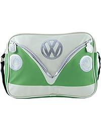 VW Collection by BRISA Schultertasche Umhängetasche mit VW Bulli T1 Motiv - Cremeweiß/Gruen