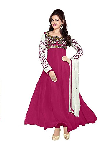 Clickedia Women Faux Georgette Semi-Stitched Anarkali Suit (30008-magenta)  available at amazon for Rs.749