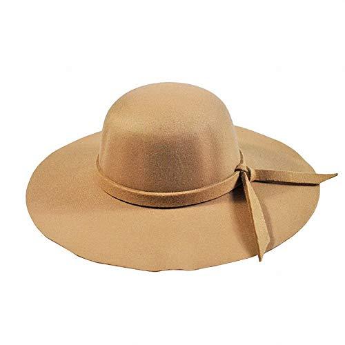 Kamel-bogen (DEED Damenhüte - Hüte Retro- großer Hut des Hutes des Herbstes und des Winters England-Damenschafhut-Bogens großen, zum warm zu halten,Kamel,Einheitsgröße)