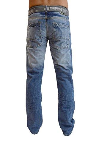 Jeans Da Uomo Crosshatch Nuovo Slavato Gamba Dritta Pantaloni Denim Cintura Inclusa Stone Wash