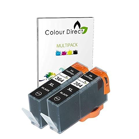 2 X Noir Colour Direct Compatible Cartouches d'encre Remplacement Pour HP 364XL - HP Deskjet 3070A, 3520, Officejet 4610, 4620, 4622, Photosmart 5510, 5510, 5512, 5514, 5515, 5520, 5522, 5524, 5525, 6510, 6520, 6525, 7510, 7520, B010a, B109a, B109c, B109d, B110a, B110c, B110d, B110e, B110f, B8550, B8553, C5380, C5383, C5390, C6300, C6380, CN245b, D5460, D5463, D7560, C510, B209, B209a, B210, B210a, B210b, B210c, B210e, C309, C309h, C309n, C310, C310a, C309a, C309c, C410b imprimeur
