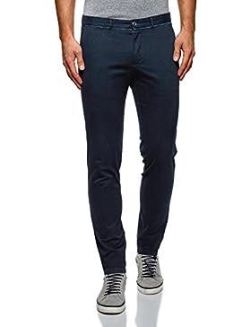 oodji Ultra Hombre Pantalones Chinos con Acabado en Contraste