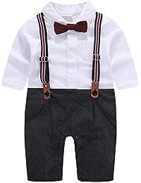 6eb0837a4f389 cool elves - 3 PCs Vêtements Suite Bébés Garçons Costume Bavette T-Shirt  Noeud Papillon Rayure + Bretelles Boutons +…