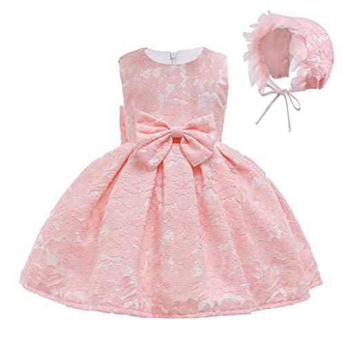 Riou Baby Mädchen Prinzessinkleid Ärmellose mit Hut Spitzekleid Blumenmädchen Fotografie Tutu Kleid für Festlich Geburtstag Abend Party Festzug Ballkleider
