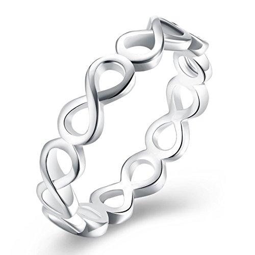 Kostüm Weiß Elektra - Adisaer Ring Zeigefinger Damen Silberringe Damen Damen Edelstahl Titanring Nickelfrei Hochzeit Band Silber Hohl 8
