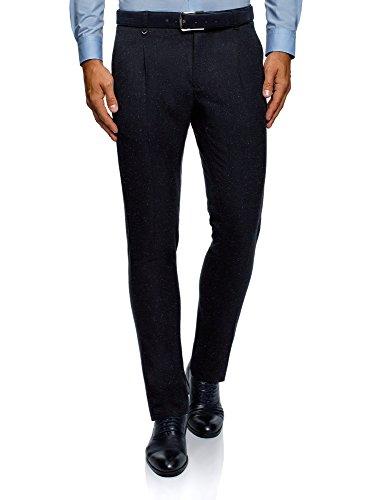 oodji Ultra Hombre Pantalones Ajustados con Pinzas, Azul, ES 40 (M)