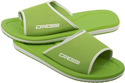 Cressi Lipari - Slipper für Strand und Schwimmbad - Erwachsene und Kinder,Mehrfarbig (Lime/Weiß), 27 EU