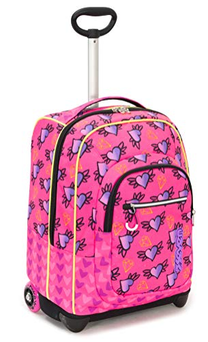 Trolley fit seven nymfe, rosa, 35 lt, 2in1  zaino con sollevamento spallacci per uso trolley, scuola & viaggio