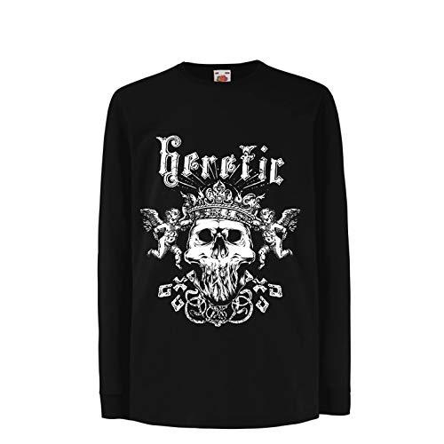 lepni.me Kinder-T-Shirt mit Langen Ärmeln Heretic King Skull - Krone des Ruhmes, Skelett Gesicht (12-13 Years Schwarz Mehrfarben) -