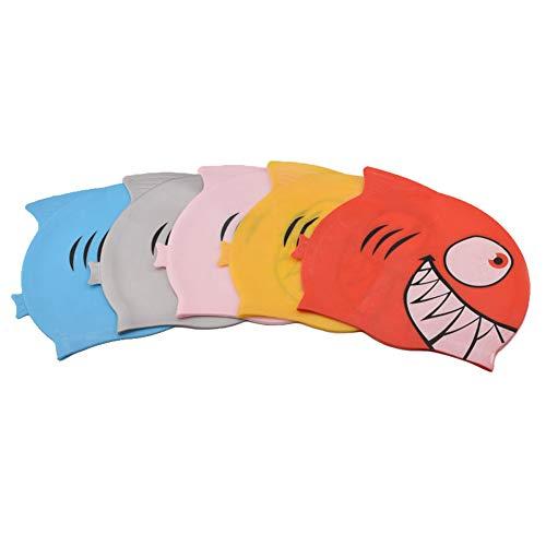 JJJ Berretto da Nuoto per Bambini, Fascia da Nuoto per Bambini con Berretto da Nuoto Simpatico Silicone in Silicone per Bambini Bambini Ragazze,Pink